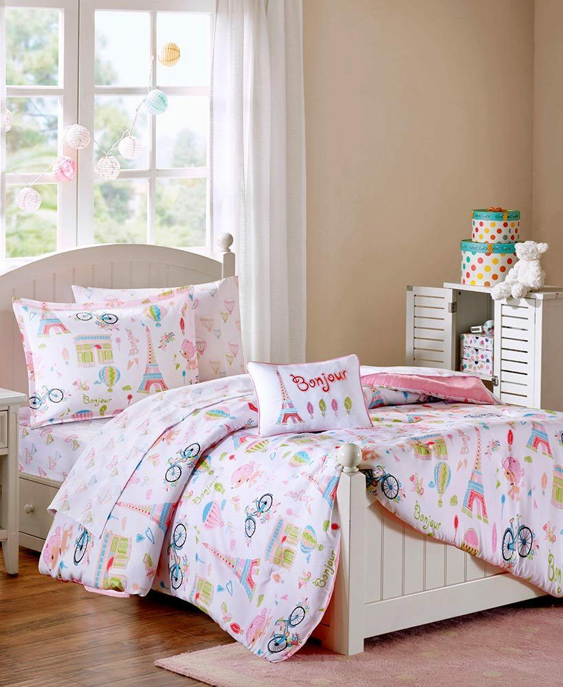 Eiffel Tower Paris Comforter Set Europe Farbe Vintage Bike Complete Bedding Set