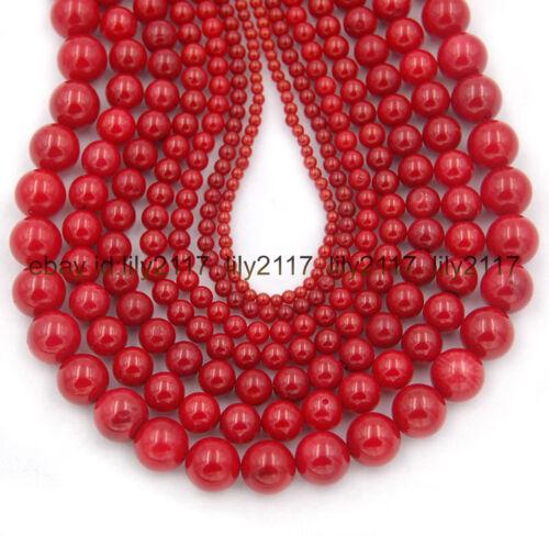 El verdadero Coral Rojo Gemas Redondo Cuentas Orfebrería 4mm 6mm 8mm 10mm 12mm 15 pulgadas