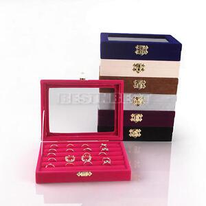 1 Pc Box Velvet NEW Glass Jewelry Storage Organizer Earring Ring Display Holder