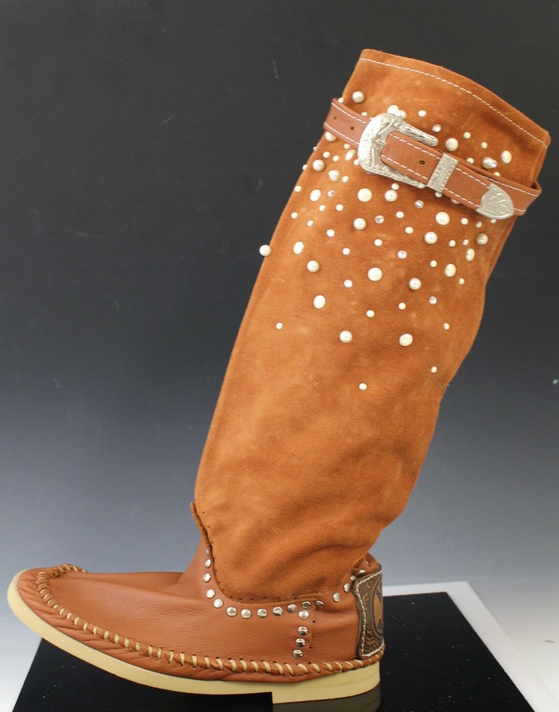 Hector Hector Hector Italian Leather Pearl Stud Moccasin Boots shoes SCAMOSCIATO Caramel US 8 3ed47c
