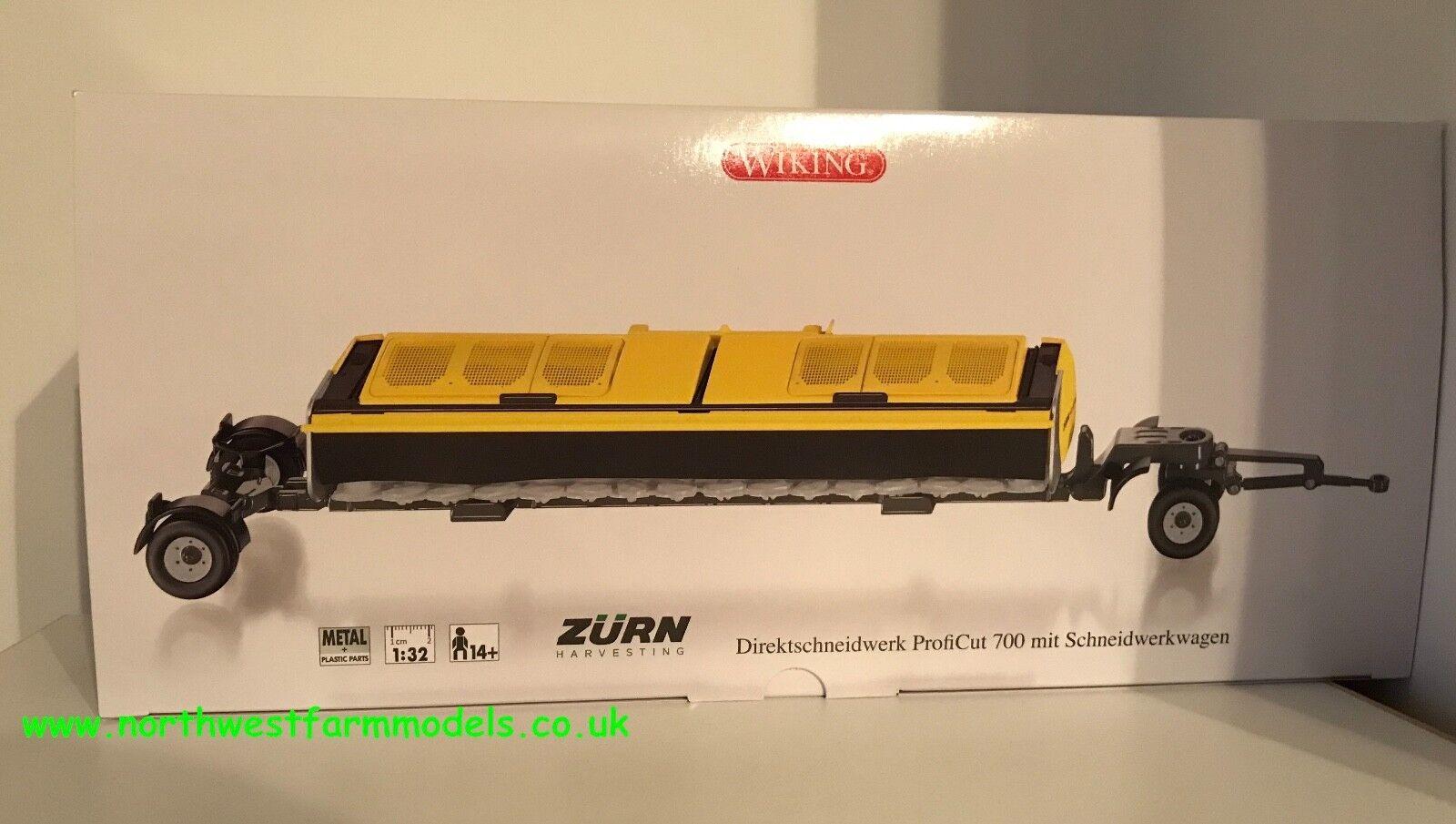 Wiking échelle 1 32 Zurn Proficut 700 Direct Cut-Tête avec remorque (En parfait état, dans sa boîte)