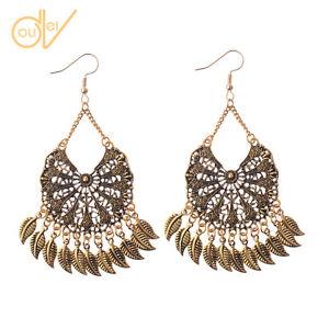 New-Women-039-s-Retro-Bohemian-Boho-Style-Round-Gold-Long-Leaf-Dangle-Earrings