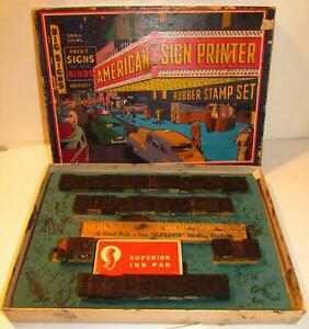 Smeco-American-Sign-Printer-Rubber-Stamp-Superior-Set-4110-USA-Vintage