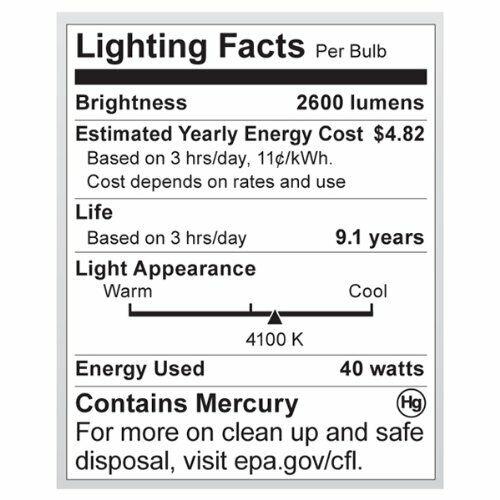 Satco 40W Lumens Hi-Pro Spiral CFL Bright White Medium Base 120V Light Bulb