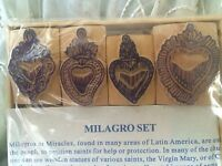 Milagro Hearts Wood Block Set 4 Different Designs Stamp Made In Nepal