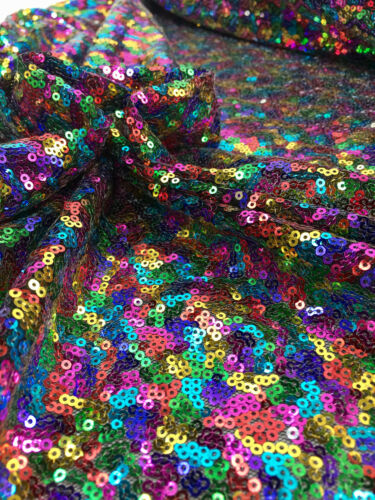 """Sequin Fabric Material 3mm Sparking Rainbow Sequins Stretch 130cm 51/"""" Wide"""
