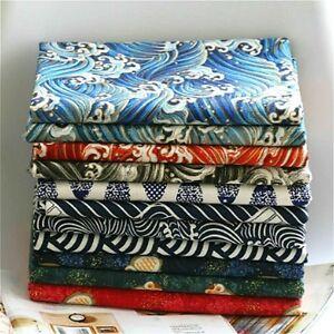 Japanese-Cotton-Linen-Fabric-Cloth-Vintage-Kimono-Owl-Ocean-Wave-100-145cm-DIY