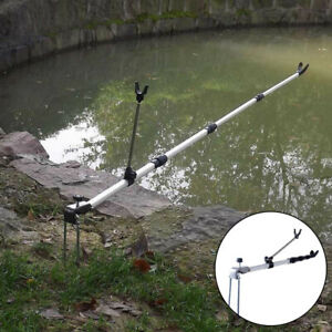 Details about Adjustable Angle Telescopic Fishing Rod Bracket Pole Ground Holder Stand Support