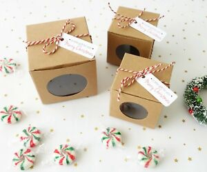 Details About 10x Christmas Gift Boxes 2 Size Cookie Box Cupcake Box Xmas Chocolate Box