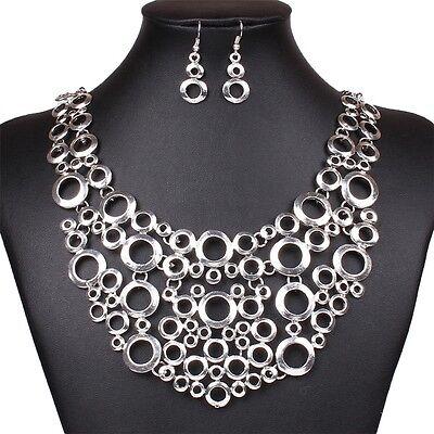 Circles Fashion Bubbles Flat Plaque Bib Statement Choker Necklace Earring Set