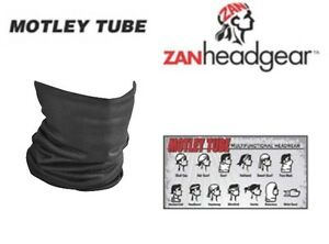 Zan Headgear Motocross Solid Black Snowmobile Motorcycle Motley Neck Tube