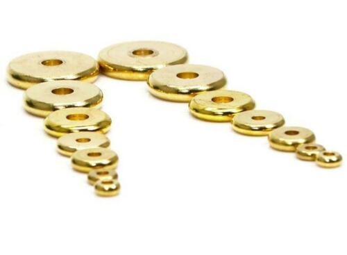 100Pcs Gold Solid Brass Disc Spacer Washer beads Flat Spacer Beads Jewelry DIY