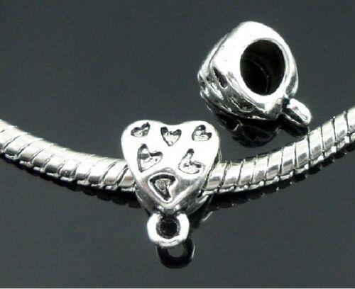 100pcs 10style Mixed Tibetan Silver Bails Beads Fit European Charm Bracelet ZY08