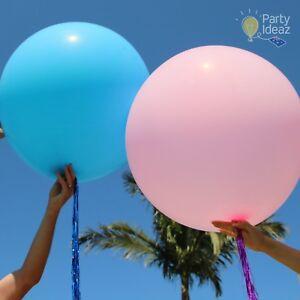 Blue-Pink-90cm-Jumbo-Balloon-amp-Metallic-Tassel-Boy-Girl-Baby-Shower-1st-Birthday