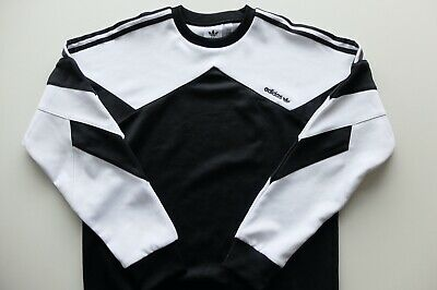 Adidas Originals Palmeston crew sweatshirt top S Black White Sweater Trefoil | eBay