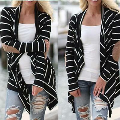 Women Striped Casual Patchwork Long Sleeve Loose Cardigans Outwear Pullover Tops