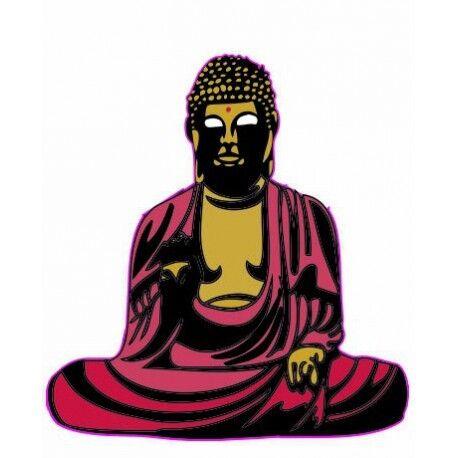 Bouddha couleur - autocollant sticker adhésif logo 2 4 cm