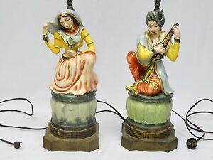 """Antique paire de porcelaine Boudoir lampes de table signé """"Picau"""" ARABESQUE Motif"""