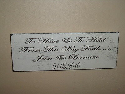 Shabby Wedding Plaque, Personalised Names/Date, distressed chic and unique