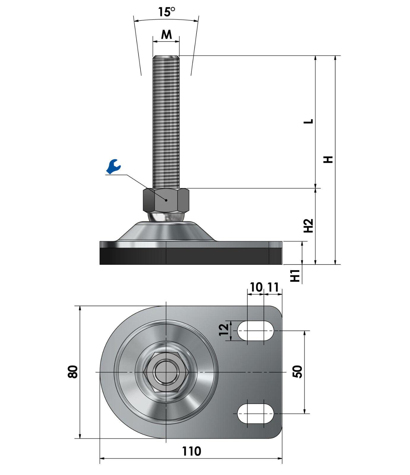 Maschinenfüße ABM Durchmesser 80mm//M12 bis Durchmesser 200mm//M20 Maschinenschuh