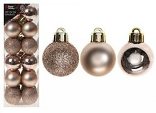 Rose Gold Christmas Xmas 24 X Balls Ornaments Baubles Fantastic Plastic Decor Pp