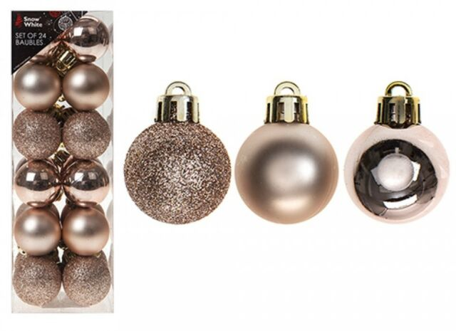 Pms 513330z Christmas Tree Ball Ornaments Box Set Pack Of 24 Rose Gold For Sale Online Ebay