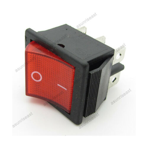 2 x Red Rocker Switch Rectangle ON-ON DPDT 20A 250V with Power Indicator Light
