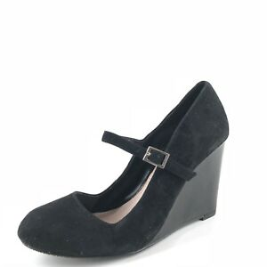 051debf073f New Vince Camuto Magie Black Suede Wedged Pumps Womens Size 6.5 M ...