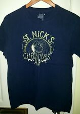 OLD NAVY St Nick Christmas Ale Graphic Tee Shirt medium blue Pre-owned