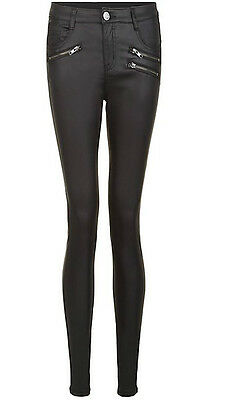 69967ba8120f Details about New Womens Ladies Parisian Black Leather Look Zip Side Jeans  Sizes 6-14 In Stock