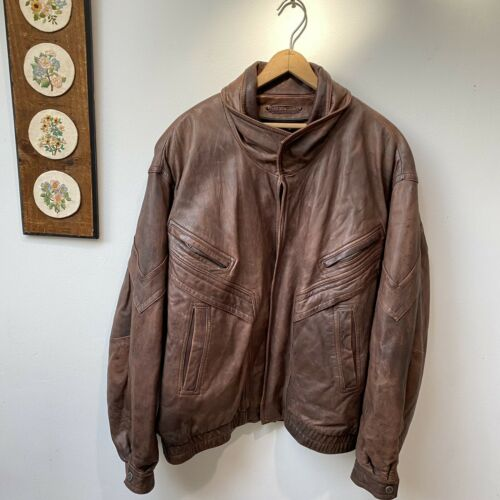 Wilsons Leather Jacket Marbled Brown Moto Biker Bo