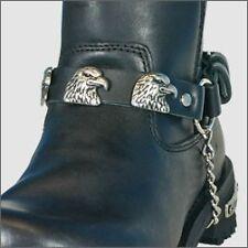 Chaine de botte en cuir Aigle Eagle metal Black leather boot moto custom