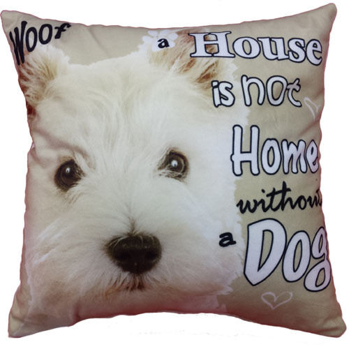 Dog picture Cushions complete cushion with filling Mini size soft suede material