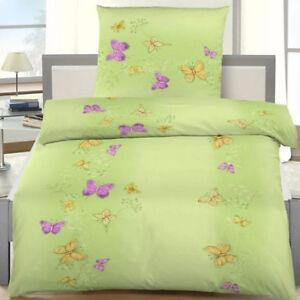 Bettwäsche 155x220 Cm Schmetterlinge Grün Schmetterling Biber Ebay