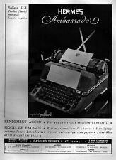 ▬► PUBLICITE ADVERTISING AD Hermès Ambassador Paillard Machine à écrire 1949