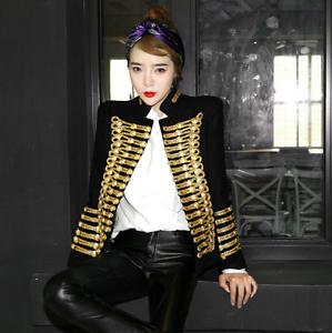 To Women Coat Uniform Wf Breasted Blend Wool Military Suit Blazer Retro Jacket EEwq1gr