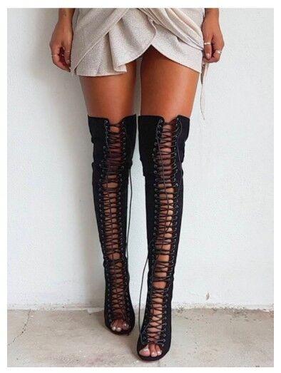 High heel Stiefel- Größe 8, lace up, BARDOT, suede braun grau, laced.