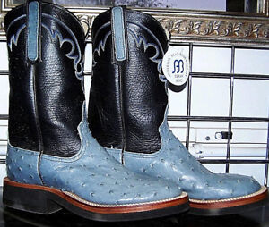 84023455af5 Details about Anderson Bean Blue Jean Full Quill Ostrich Crepe Cowboy Boots  5 C Ladies 6 - 6.5