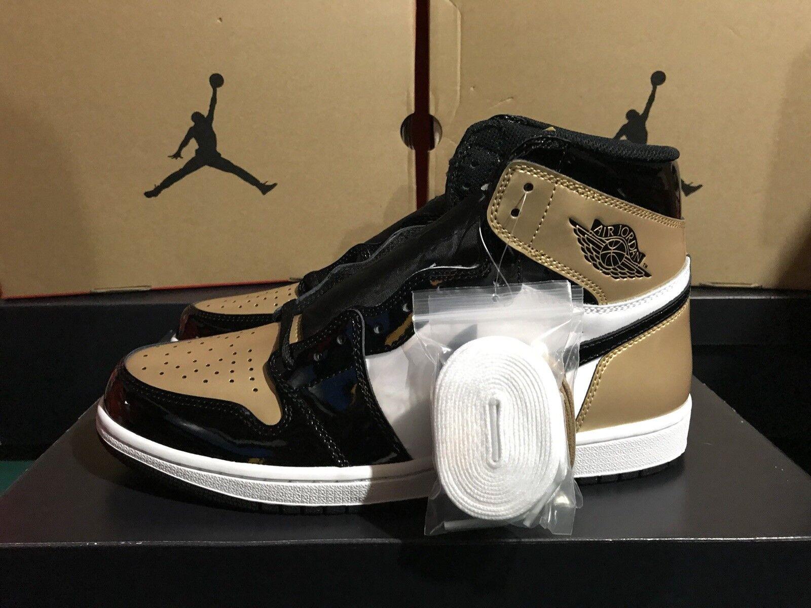 2018 Air Jordan Retro 1 High OG NRG gold Toe Black 861428-007 New In Box 2018 DS