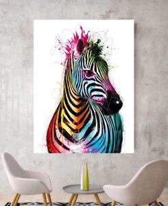 Image Is Loading Zebra Art Zebra Canvas Print Colourful Zebra Wall