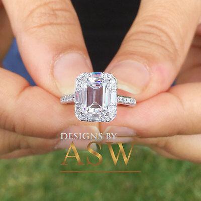 14K Solid White Gold 2ct Round Cut Three Stone Simulated Diamond Engagement Ring