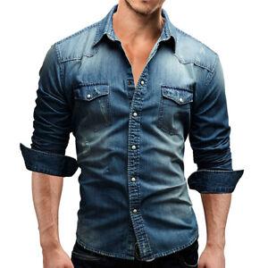 PT-LK-Uomo-BAVERO-COLLETTO-TASCHE-Camicia-di-jeans-manica-lunga-casual-slim