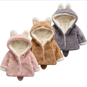 Toddler Baby Girls Boys Winter Warm Fleece Coat Hoodie Jacket Faux Fur Clothes