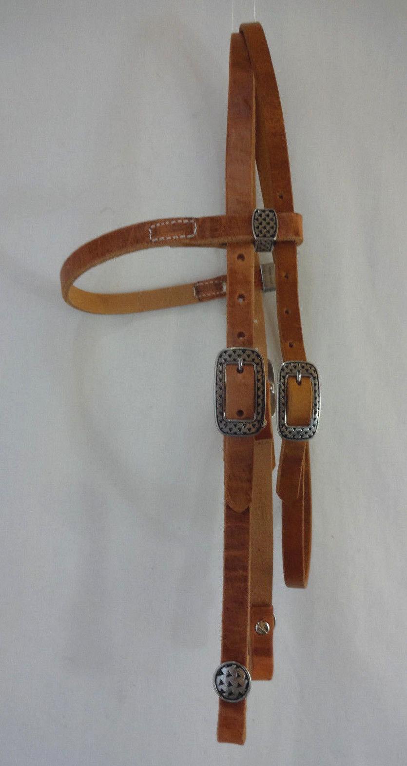 Heavy  Hermann Oak Harness Leather Horse Headstall 5 8  Jeremiah Watt Rasp Concho  gorgeous