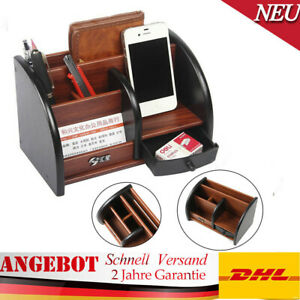 Schreibtischorganizer Schreibtischständer Stifthalter mit Schublade Naturholz