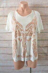 Zara-Top-Sz-Large-14-16-White-Gold-Short-Sleeve-T-shirt-Blouse