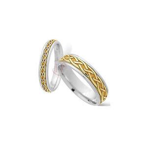 9 Ct Oro Amarillo Y Blanco 4mm Celta Alianza Complete Range Of Articles Precious Metal Without Stones Jewelry & Watches