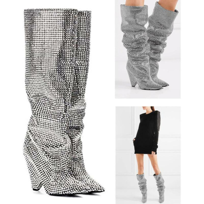 100% Cow leather Embellished Rhinestone Crystal Coverosso Knee High stivali scarpe SI
