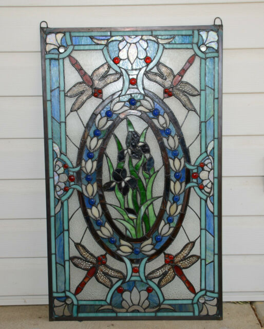 Large Tiffany Style stained glass Jeweled window panel Dragonfly & Iris Flowers