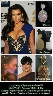 KIM KARDASHIAN CELEB INSPIRED PAVE DIAMOND DISK DISC HOOP EARRINGS   JASPAR